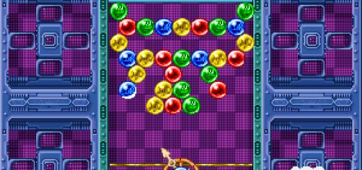 Una schermata della versione originale del gioco Puzzle Bobble