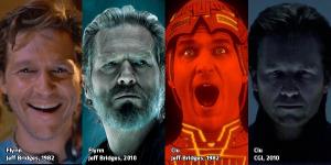 Jeff Bridges nel 1982, nel 2010 e il suo alter ego digitale.