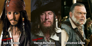 Johnny Depp, Geoffrey Rush e Kevin McNally
