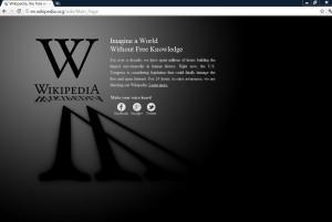 La schermata di protesta di Wikipedia.