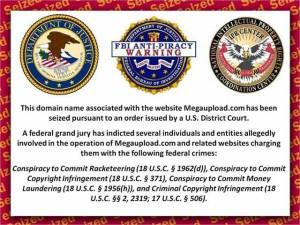 Avviso dell'FBI sui siti di MegaUpload