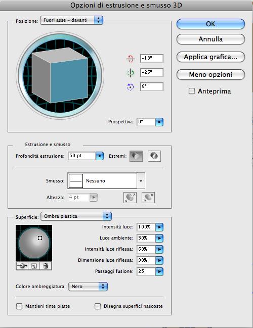 Finestra Estrusione e Smusso 3D di Illustrator