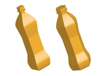 Bottiglia 3D a base quadrata o esagonale