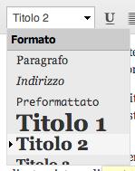 Scelta Formato su TinyMCE