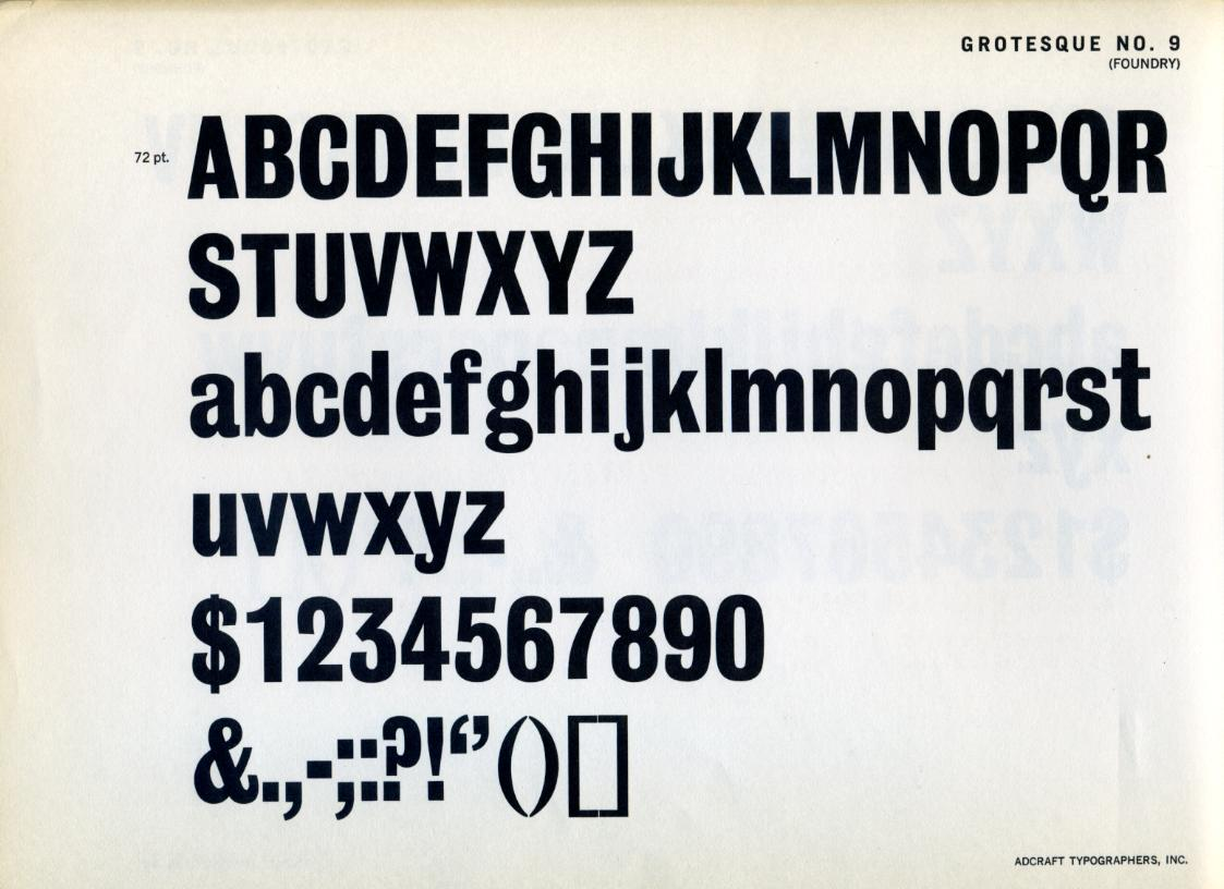 Grotesque № 9 Type Specimen